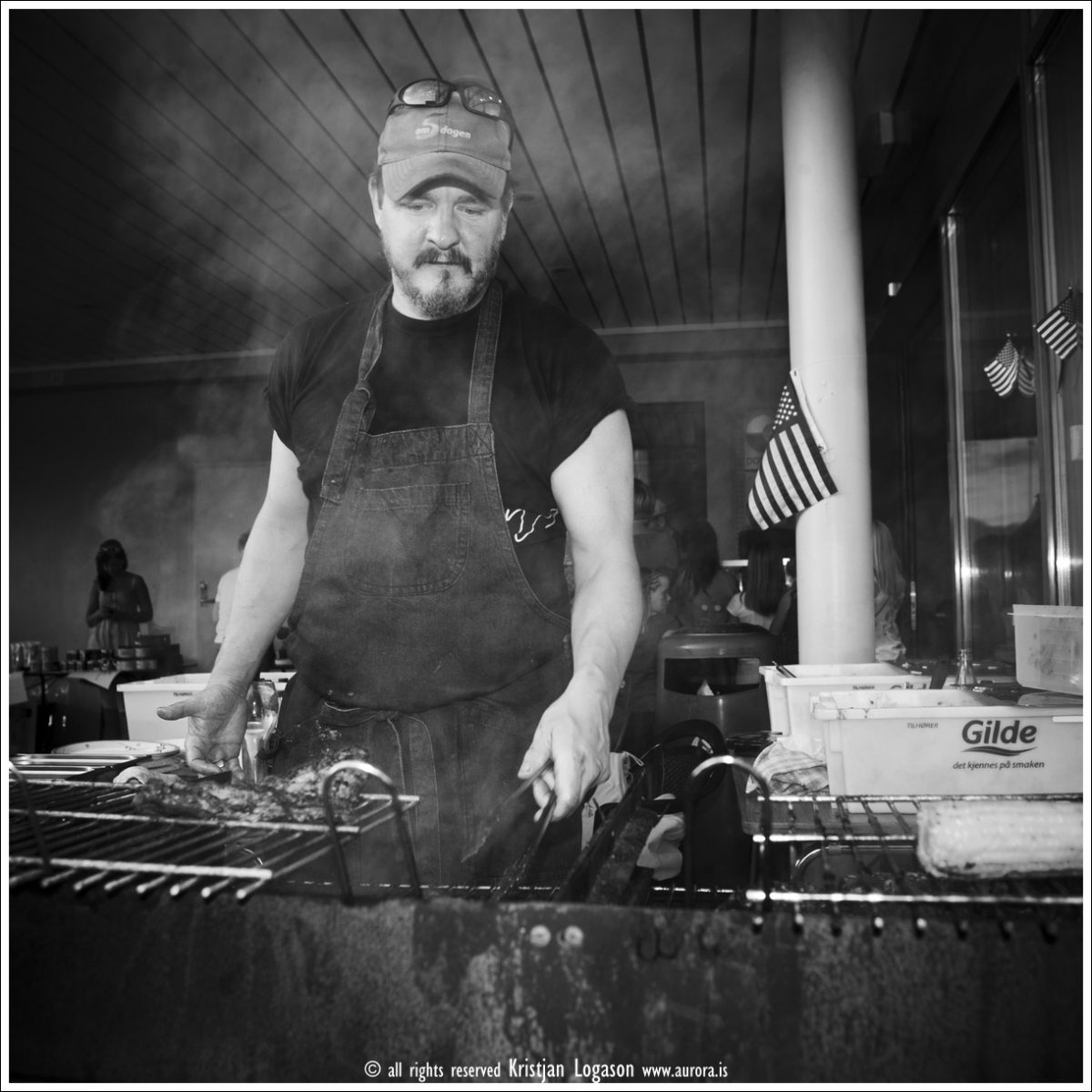 the chef, Stewart grilling meat, Leikanger, Norway