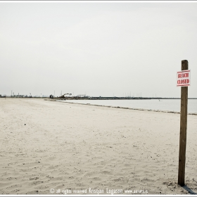 Closed beach  after Hurricane Katrina