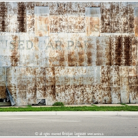 Rusty old corrugated Iron wall in Apalachicola in Florida